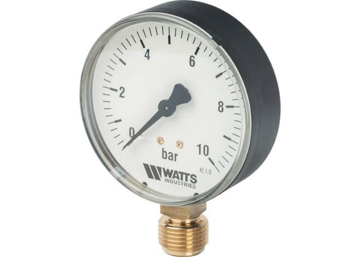 "Watts F+R200(MDR) 80/10x1/2"" Манометр радиальный 80мм, 0-10 бар"