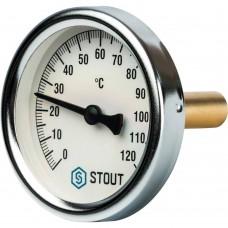 """STOUT SIM-0001 Термометр биметаллический с погружной гильзой. Корпус Dn 63 мм, гильза 50 мм 1/2"""", 0...120°С"""
