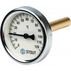 """STOUT SIM-0001 Термометр биметаллический с погружной гильзой. Корпус Dn 63 мм, гильза 75 мм 1/2"""", 0...120°С"""