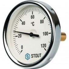 """STOUT SIM-0001 Термометр биметаллический с погружной гильзой. Корпус Dn 80 мм, гильза 50 мм 1/2"""", 0...120°С"""