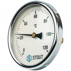 """STOUT SIM-0001 Термометр биметаллический с погружной гильзой. Корпус Dn 100 мм, гильза 50 мм 1/2"""", 0...120°С"""