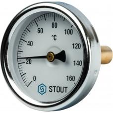 """STOUT SIM-0002 Термометр биметаллический с погружной гильзой. Корпус Dn 63 мм, гильза 50 мм 1/ 2"""", 0...160°С"""