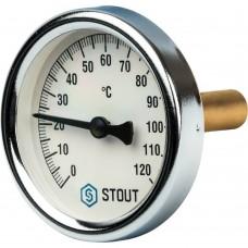 """STOUT SIM-0003 Термометр биметаллический с погружной гильзой. Корпус Dn 63 мм, гильза 50 мм, резьба с самоуплотнением 1/2"""", 0...120°С"""