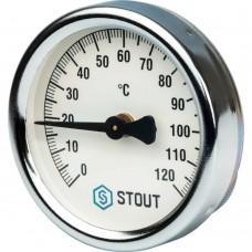 """STOUT SIM-0004 Термометр биметаллический накладной с пружиной. Корпус Dn 63 мм, 0...120°С, 1""""-2"""""""