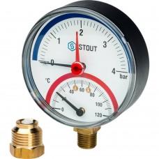 """STOUT SIM-0006 Термоманометр радиальный в комплекте с автоматическим запорным клапаном. Корпус Dn 80 мм 1/2"""", 0...120°C, 0-4 бар."""