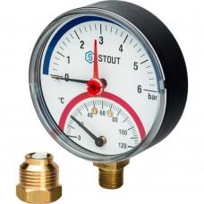 """STOUT SIM-0006 Термоманометр радиальный в комплекте с автоматическим запорным клапаном. Корпус Dn 80 мм 1/2"""", 0...120°C, 0-6 бар."""