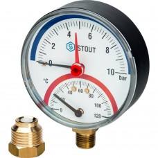 """STOUT SIM-0006 Термоманометр радиальный в комплекте с автоматическим запорным клапаном. Корпус Dn 80 мм 1/2"""", 0...120°C, 0-10 бар."""