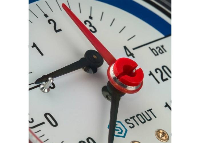 """STOUT SIM-0005 Термоманометр аксиальный в комплекте с автоматическим запорным клапаном. Корпус Dn 80 мм 1/2"""", 0...120°C, 0-4 бар."""