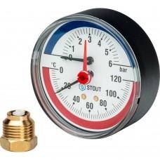 """STOUT SIM-0005 Термоманометр аксиальный в комплекте с автоматическим запорным клапаном. Корпус Dn 80 мм 1/2"""", 0...120°C, 0-6 бар."""