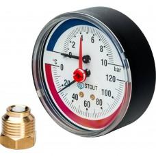 """STOUT SIM-0005 Термоманометр аксиальный в комплекте с автоматическим запорным клапаном. Корпус Dn 80 мм 1/2"""", 0...120°C, 0-10 бар."""