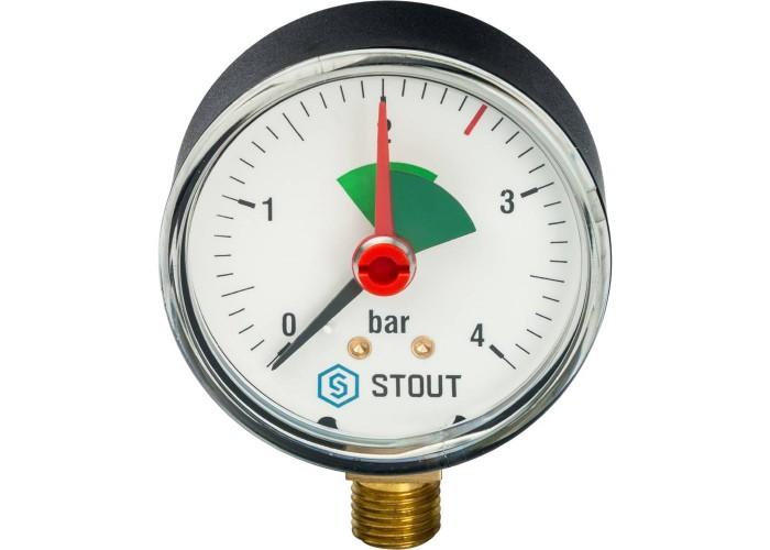 """STOUT SIM-0008 Манометр радиальный с указателем предела. Корпус Dn 63 мм 1/4"""", 0...4 бар, кл.2.5"""