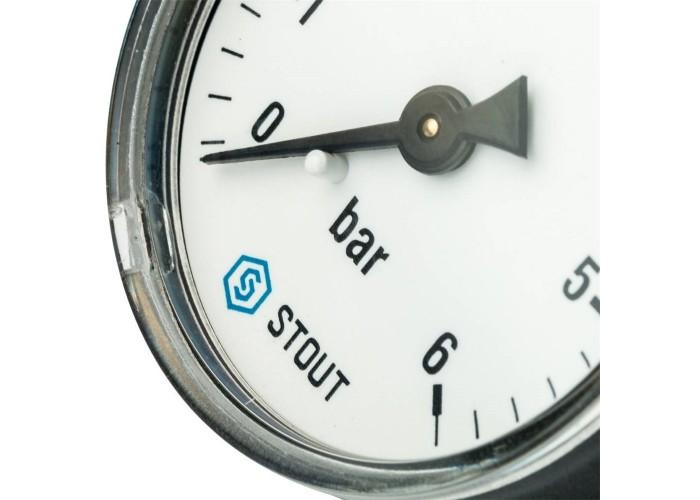 """STOUT SIM-0009 Манометр аксиальный. Корпус Dn 50 мм 1/4"""", 0...6 бар, кл.2.5"""