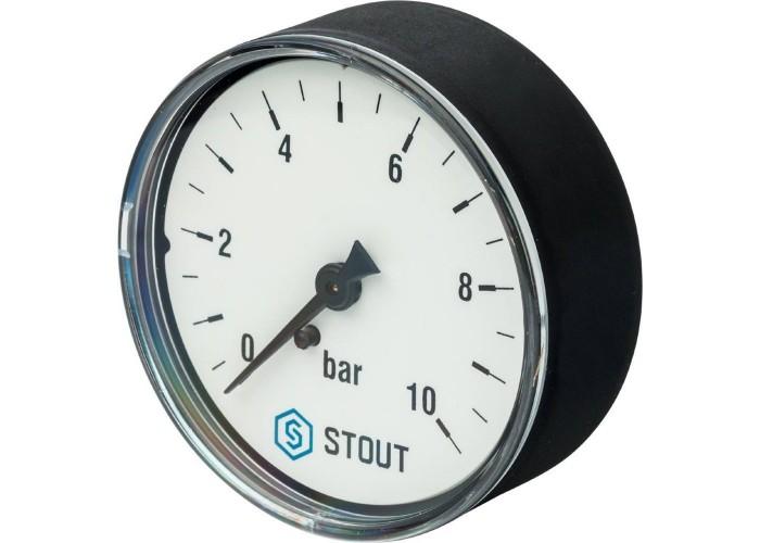"""STOUT SIM-0009 Манометр аксиальный. Корпус Dn 63 мм 1/4"""", 0...10 бар, кл.2.5"""