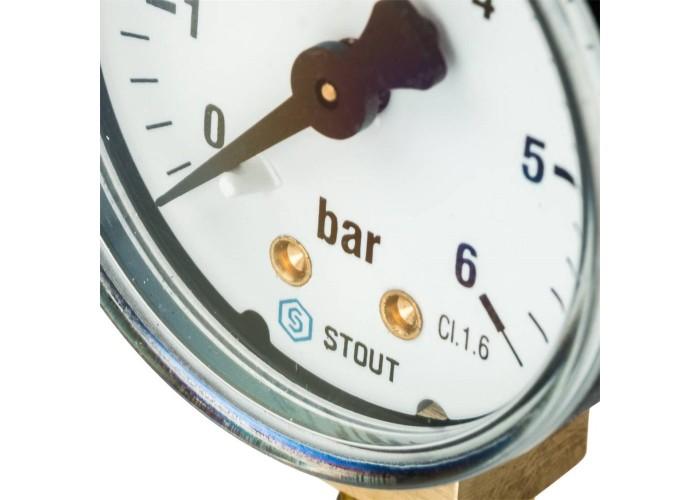 "STOUT SIM-0010 Манометр радиальный. Корпус Dn 50 мм 1/4"" , 0...6 бар, кл.2.5 в Белгороде"