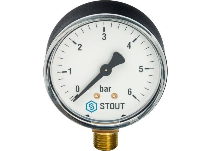 "STOUT SIM-0010 Манометр радиальный. Корпус Dn 63 мм 1/4"", 0...6 бар, кл.2.5 в Белгороде"