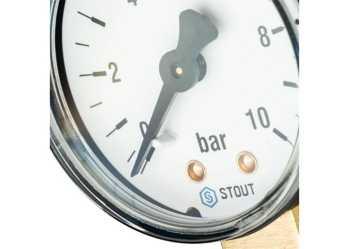 "STOUT SIM-0010 Манометр радиальный. Корпус Dn 50 мм 1/4"", 0...10 бар, кл.2.5 в Белгороде"