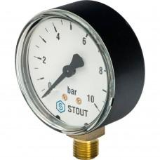 "STOUT SIM-0010 Манометр радиальный. Корпус Dn 63 мм 1/4"", 0...10 бар, кл.2.5"