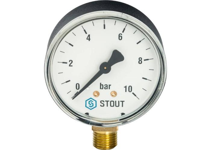 "STOUT SIM-0010 Манометр радиальный. Корпус Dn 63 мм 1/4"", 0...10 бар, кл.2.5 в Белгороде"