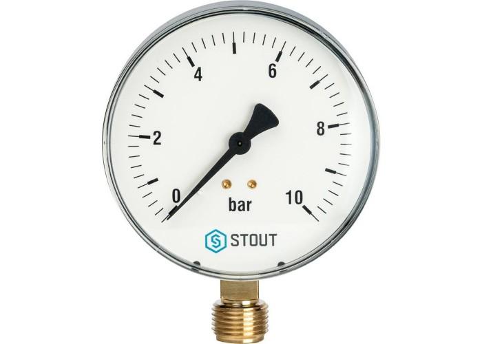 "STOUT SIM-0010 Манометр радиальный. Корпус Dn 100 мм 1/2"", 0...10 бар, кл.2.5"