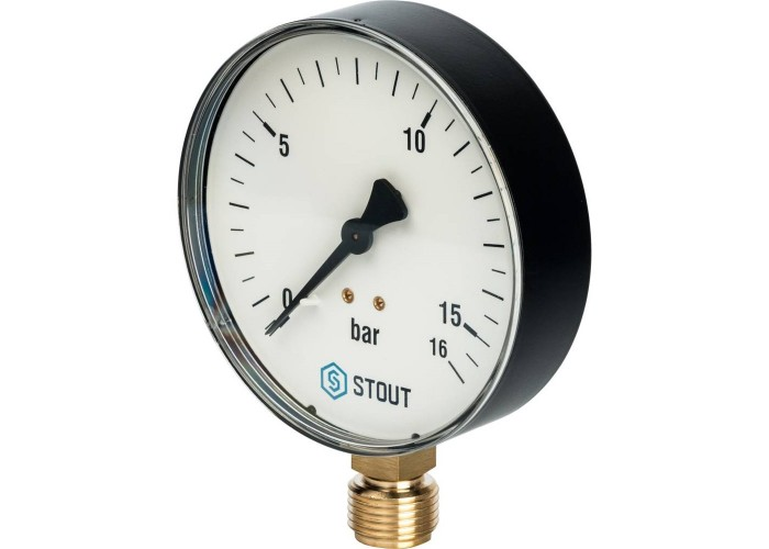 "STOUT SIM-0010 Манометр радиальный. Корпус Dn 100 мм 1/2"", 0...16 бар, кл.2.5"