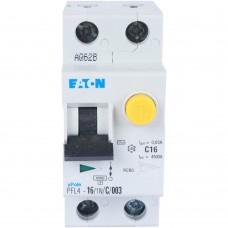Eaton Выключатель авт. диф. тока 1п+N 2мод. C 16А 30мА тип AC 4.5кА PFL4-16/1N/C/003 EATON 293298
