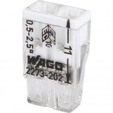 WAGO Клемма 2х(0.5-2.5мм) 2-х проводн. для распред. короб. (без п) WAGO 2273-202