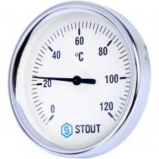 """STOUT SIM-003 Термометр биметаллический с погружной гильзой. Корпус Dn 80 мм, гильза 50 мм, резьба с самоуплотнением 1/2"""", 0...120°С"""