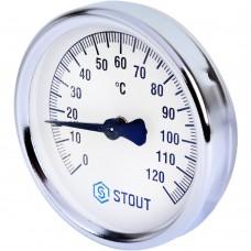"""STOUT SIM-0004 Термометр биметаллический накладной с пружиной. Корпус Dn 80 мм, 0...120°С, 1""""-2"""""""