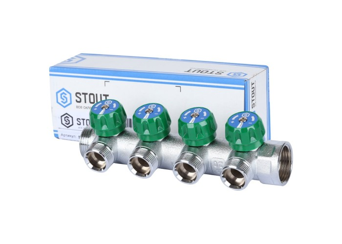 """STOUT SMB-6850-013404 STOUT Коллектор регулирующий 1"""", 4 отвода 3/4"""" ЕК"""
