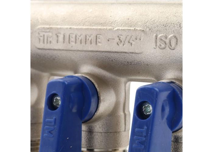 TIEMME Коллектор (1/2)х3/4 с кран. на 3 выхода