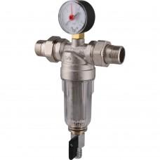 TIEMME 3/4 Фильтр с манометром со сгонами, с прозрачной пластиковой колбой, промывной