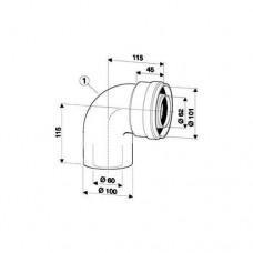 Bosch Угловое колено с рев. отв. DN60/100 90гр